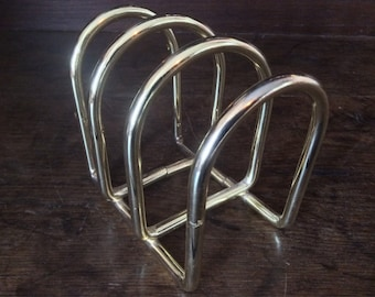Vintage English Heavy Toast Rack Gold Brass Coloured Metal Note Letter Document Rack circa 1970-80's / English Shop