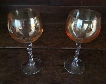 Vintage French Peach Drinking Glasses Glass circa 1970's / English Shop