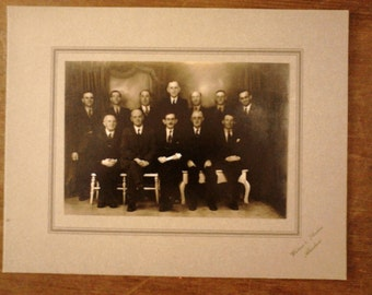 Antique English gentlemen group club photograph photo circa 1910's / English Shop