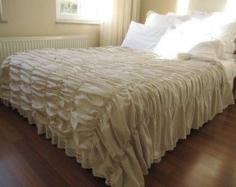 RUCHED bedding duvet cover-Waterfall ruffle Oatmeal cotton linen blend-Bohemian Country Shabby chic bedding Twin XL college dorm queen king
