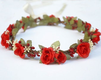 Red Rose Flower Crown - Floral Crown, Flower Girl, Red and White, Bridal Headpiece, Red Flower Crown, Woman's, Children, Red Rose, July 4th