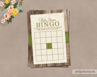 Rustic Baby Bingo Game Card - INSTANT DOWNLOAD - Caroline Collection