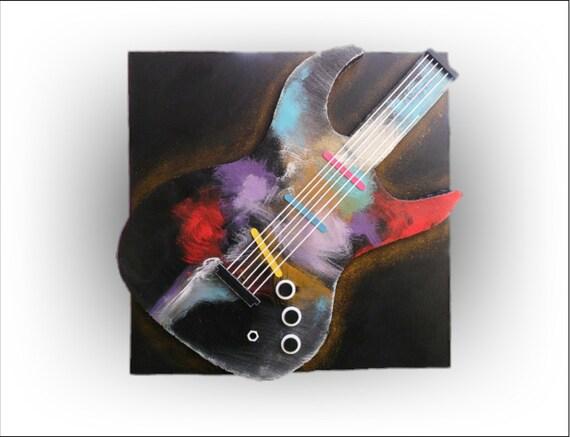 RESERVED for Ryan - Guitar 3d Original Wall Art- Artist Skye Taylor - 36 x 36 - Skye Taylor