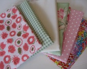 Quiltsy Destash Party - Fat Quarters Spring Soft Pink & Green 6 Fabric Bundle Quilting Weight