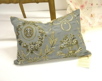 Pillow case original classic style light silver blue grey medallion home decor small cushion cover 19th century vintage fabric upholstery