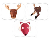 PDF Felt Woodland Forest Animal Pattern, DIY Plush Taxidermy Sewing Pattern, Deer, Moose, Fawn, Fox, Bundle Discount Buy 3 Get One 1/2 Off
