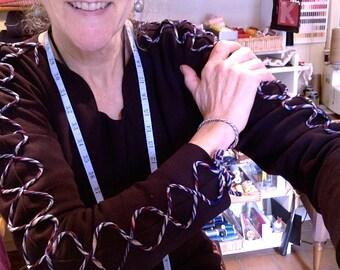 CUSTOM Wool Dress with Oscar de la Renta Wool Trim on sleeves, peels open in front with hidden snaps