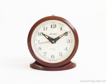 Vintage Mechanical Alarm Clock Brown White Russian Wind Up 70s