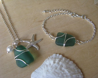 Mermaid Green Sea Glass Necklace and Sea Glass Bracelet Set or Individual Beach Glass Jewelry