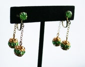 Vintage Green Rhinestone Dangle Earrings