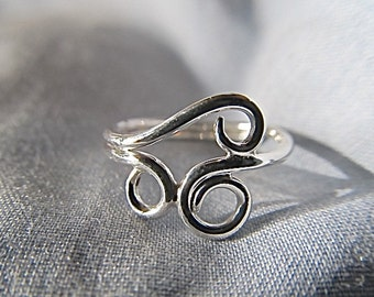Three loop sterling silver ring