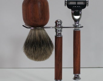 Shaving set, stand, brush and razor, bubinga, chrome