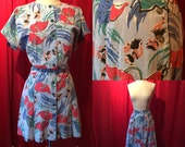 Rare Vintage 1940s Kamehameha Romper and Skirt Set