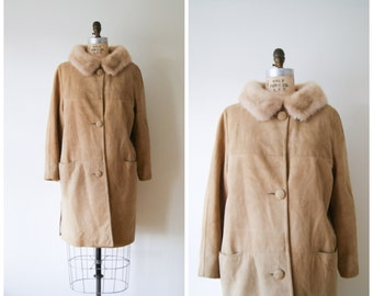 Suede and Fur Coat  Vintage 70s Tan Leather Coat with Mink Trim Women's Small / Medium.