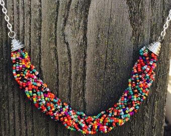 Gorgeous braided seed bead rainbow necklace
