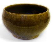 Small Deep Serving Bowl, Brown, Black, Green, Gold, Hand Made, Born of Fire, Food safe, Dishwasher safe, Oven Safe, Stoneware