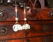 Antique Victorian Glass Flower Buttons with White Pearl and Sterling Silver Dangle Earrings