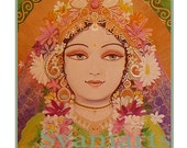 Goddess  divine Lady of fortune home altars temple supplies mixed media syamarts syam marquez  prints all sizes