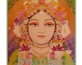 krishna's first queen Rukmini divine Goddess of fortune green home altars temple mixed media syamarts syam marquez prints all sizes