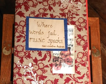 Red music themed journal, diary, notebook, Ideal Gift, engraved with pyrography, Hans Christian Andersen music quote