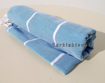 Turkishtowel-2015 Collection-Soft,High Quality,Hand Woven,Cotton Bath,Beach,Pool,Spa,Yoga,Travel Towel-Teal,White Stripes