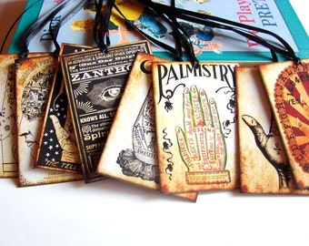 Victorian Gift Tags - Palm Reading Fortune Teller Fortune Telling Palm Reader The Occult Palmistry Hand Gypsy - Set Of 8 Lg Assorted Tags
