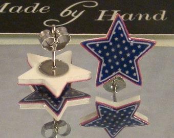 Blue Star Stud earrings - Stars and Stripes - I love america