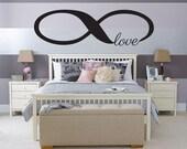Love Infinity Bedroom Wall Decal - Bedroom Dining Living Art Decor Decoration Headboard Children Nursery Romance Kiss Love Valentine's