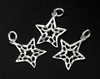 4 of 925 Sterling Silver Star Charms 10 mm. :th1507