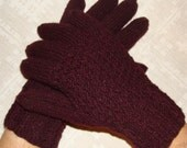 Hand knitted  warm men gloves (bulgarian rose color)