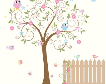 Vinyl wall decal nursery wall decal-tree with fence,owls,birds,flowers