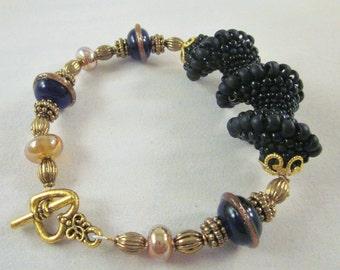 Black Spiral Lampwork Glass Bracelet - Antique Gold Finished - Handmade, Unique, OOAK, SRAJD