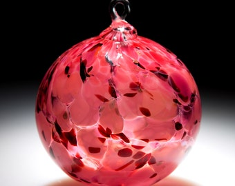 Ornament Suncatcher Hand Blown Art Glass in Pink - 1 ea by Totally Blown Glass