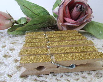 Gold  Glittered Clothespins - Set of 12 Embellished Clothespins - Photo Clips - Wedding - Shower - Party Decor