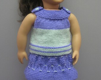 American Girl Doll Skirt, Top and Pony Tail Holder