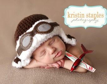 Newborn Aviator Hat - Pilot - Goggles - Photo Prop