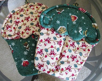 Handmade Christmas Holiday Cupcake shaped oven mitts pot holders blue green and red and Santa and bird houses