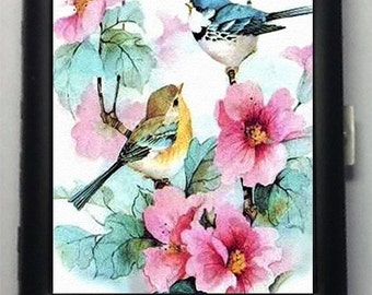 Cute Birds Flowers Black Metal Wallet Cigarette Case  No . 148