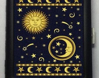 Sun Moon Stars Black Metal Wallet Cigarette Case 892