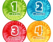 SALE Monthly Baby Stickers NEUTRAL Boy Girl Bodysuit Sticker Baby Month Milestone Sticker Shower Gift Photo Prop Tie Dye Colored (109N)