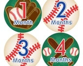 Baby Monthly Stickers FREE Baby Month Milestone Sticker Baby Month Stickers Baby Boy Bodysuit Stickers Photo Props Blue Red Baseball 130B