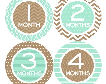 SALE Baby Monthly Stickers FREE Monthly Bodysuit Sticker Neutral Boy Girl Month Milestone Sticker Shower Gift Chevron Mint Brown 060N