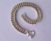 Sterling Silver Heart Bracelet, Half Persian Chainmail