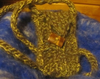 Knitted  earthy  phone purse in green with hints of gold and grey, hand knit and spun icelandic wool with knit cord