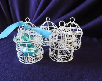 "Mini Bird Cage table decoration  - white mini bird cage - 2"" diameter x 3 1/4"" high"