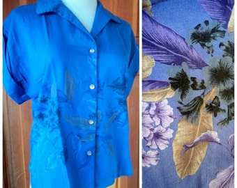 Vintage 70s Blouse Deep Purple Popcorn Fashions Surfer Girl Button Up Tropical Top L 36 bust