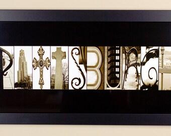 Pittsburgh Alphabet Photography Letter Art  - 10 X 20 Framed