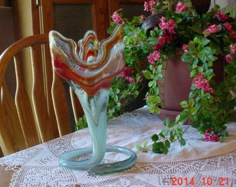 Vintage OOAK Hand Blown Murano Style Art Glass Vase - Flower Vase