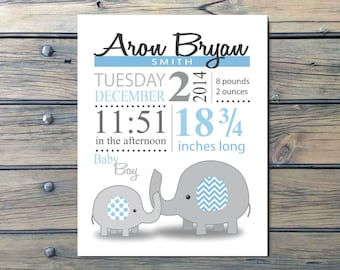Blue Gray Elephant and Baby Nursery Announcement Art - Personalized, Baby Boy Gift - print or digital