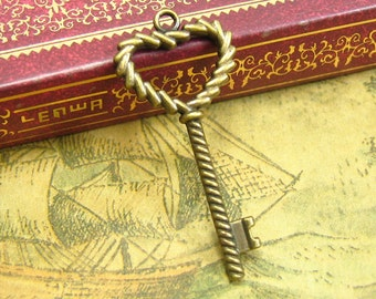 20 pcs Antique Bronze Skeleton Key Charms 36x17mm CH1874